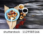 appetizer bruschetta with... | Shutterstock . vector #1129585166