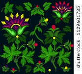 embroidery of fantasy flowers....   Shutterstock .eps vector #1129601735