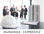 business meeting of architects...   Shutterstock . vector #1129602212