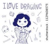 student cute character. artist... | Shutterstock .eps vector #1129608575