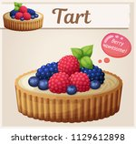 tart dessert with berries icon. ... | Shutterstock .eps vector #1129612898