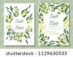 wedding invitation frames with...   Shutterstock .eps vector #1129630535