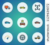 automobile icons colored line...   Shutterstock .eps vector #1129634072