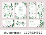 wedding card templates set with ... | Shutterstock .eps vector #1129634912