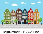 flat city landscape with... | Shutterstock .eps vector #1129641155