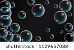 soap bubbles with rainbow... | Shutterstock .eps vector #1129657088