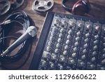 sound recording studio mixer... | Shutterstock . vector #1129660622