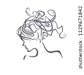 linear illustration profile of... | Shutterstock .eps vector #1129671842
