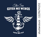 vector nautical emblem with... | Shutterstock .eps vector #1129674152