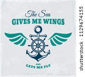 vintage emblem with anchor ... | Shutterstock .eps vector #1129674155