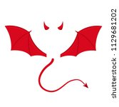 devil wing  horns and tail.... | Shutterstock .eps vector #1129681202