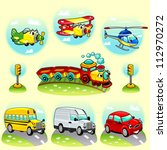 funny vehicles with background. ... | Shutterstock .eps vector #112970272