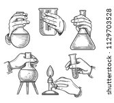 retro chemical experiments.... | Shutterstock .eps vector #1129703528