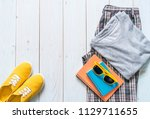 men's casual outfits of... | Shutterstock . vector #1129711655
