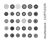 set of black gears icon. vector ... | Shutterstock .eps vector #1129713155