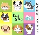 cute dog gang  | Shutterstock .eps vector #1129737458