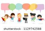 cute superhero kids with speech ... | Shutterstock .eps vector #1129742588