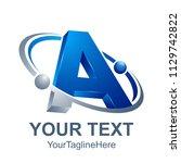 3d abstract letter a logo... | Shutterstock .eps vector #1129742822