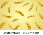 wheat isolated on yellow... | Shutterstock .eps vector #1129745585