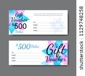 gift voucher template  vector   Shutterstock .eps vector #1129748258