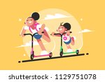 girls riding kick scooter.... | Shutterstock .eps vector #1129751078