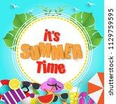 summer sale banner. vector...   Shutterstock .eps vector #1129759595