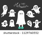 set of halloween vector ghost...   Shutterstock .eps vector #1129760552