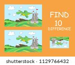 cute flying dragon with castle... | Shutterstock .eps vector #1129766432