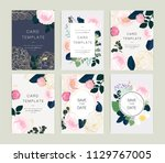 wedding invitation  floral... | Shutterstock .eps vector #1129767005