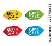 super sale realistic sticker... | Shutterstock .eps vector #1129768685