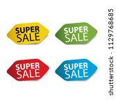 super sale realistic sticker... | Shutterstock .eps vector #1129768685