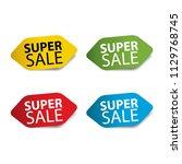 super sale realistic sticker... | Shutterstock . vector #1129768745