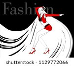 stylish fashion model. pretty... | Shutterstock .eps vector #1129772066