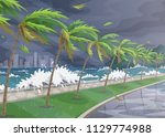 seaside landscape during storm... | Shutterstock .eps vector #1129774988
