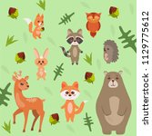 cute forest animals on the... | Shutterstock .eps vector #1129775612