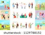 big set of healthy active... | Shutterstock .eps vector #1129788152
