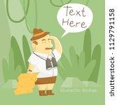 treasure hunter cartoon... | Shutterstock .eps vector #1129791158