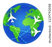 planes fly around the globe.... | Shutterstock .eps vector #1129792058