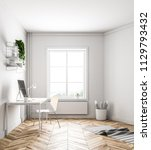 white home office interior with ... | Shutterstock . vector #1129793432
