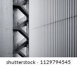 fire escape stairs ladder...   Shutterstock . vector #1129794545