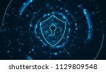 cyber security concept  shield... | Shutterstock . vector #1129809548