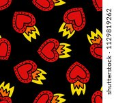sacred heart seamless doodle... | Shutterstock .eps vector #1129819262