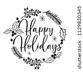 vector hand drawn christmas... | Shutterstock .eps vector #1129820345