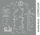 symbols of the popular fantasy... | Shutterstock .eps vector #1129821428