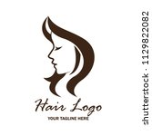 woman hair logo with text space ... | Shutterstock .eps vector #1129822082