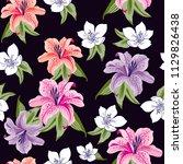 flowers pattern  lily flowers... | Shutterstock .eps vector #1129826438