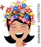 girl with flowers in her head | Shutterstock .eps vector #1129827752