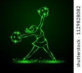 cheerleader dances with pom... | Shutterstock .eps vector #1129828082