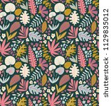 tropical summer plants seamless ... | Shutterstock .eps vector #1129835012