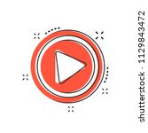 cartoon play button icon in... | Shutterstock .eps vector #1129843472
